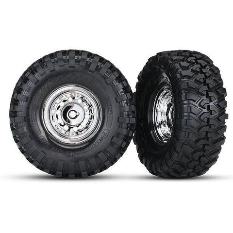 TRAXXAS TIRES AND WHEELS, ASSEMB, GLUED CHR (8177)