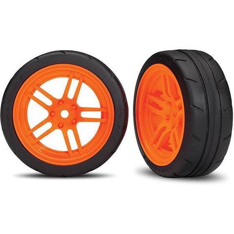 TRAXXAS TIRES AND WHEELS, ASSEMBLED, GLUED, ORANGE (8373A)