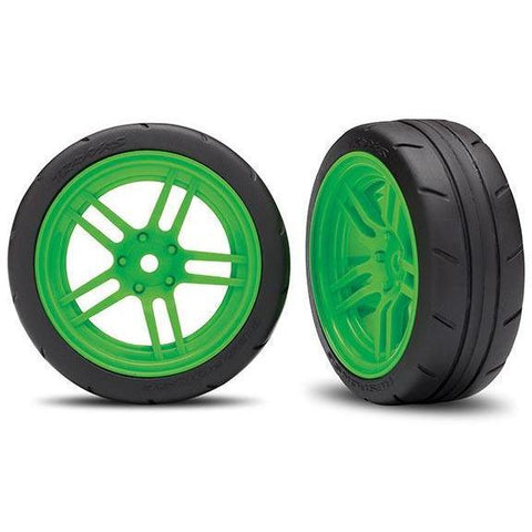 TRAXXAS TIRES AND WHEELS, ASSEMBLED, GLUED, GREEN (8373G)