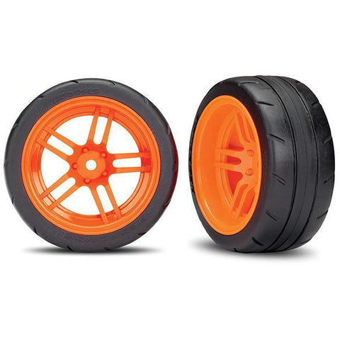 TRAXXAS TIRES AND WHEELS, ASSEMBLED, GLUED, ORANGE (8374A)