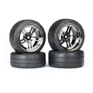 TRAXXAS Tyres & Wheels, Assembled, Glued, Blk ChrR (8375)