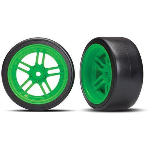 Image of TRAXXAS TIRES & WHEELS, ASSEMBLED - GREEN WHEELS (8377G)