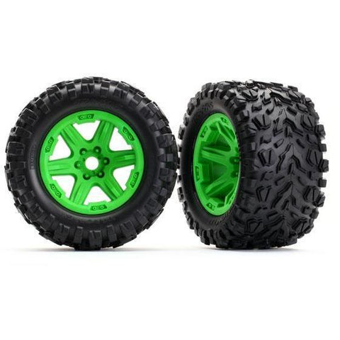 Image of TRAXXAS TIRES & WHLS, ASSEMB, GLUED (GREEN) (8672G)