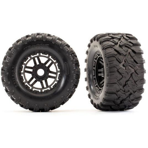Image of TRAXXAS Maxx Assemb Black Wheels Tyres (8972)