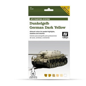 Vallejo Model Air AFV Set German Dark Yellow 6 Colour Set