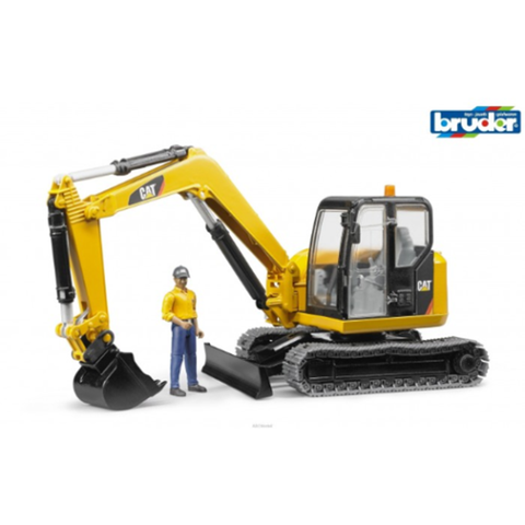 BRUDER 1/16 Caterpillar Mini Excavator w/Worker (BR-02466)