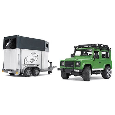 BRUDER Land Rover Defender Station Wagon w/Horse Trailer & 1 Horse 1/16
