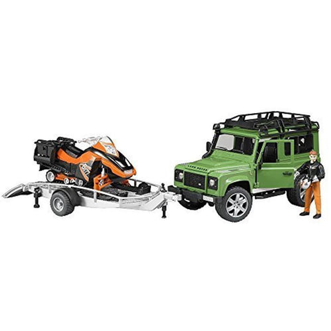 BRUDER Land Rover Defender Wagon w/ Trailer, Snowmobile & Driver 1/16