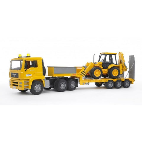 BRUDER MAN TGA Low Loader Truck w/JCB 4CX Backhoe Loader 1/16