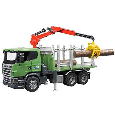 BRUDER Scania R-series Timber truck with loading crane and 1/16