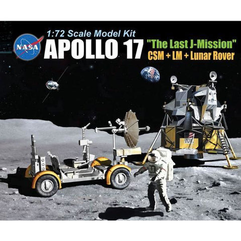 "DRAGON 1/72 Apollo 17 ""The Last J-Mission"" CSM + LM + Lunar Rover Plastic Model Kit"