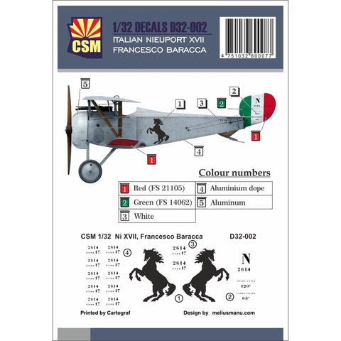 COPPER STATE MODELS DECAL Nieuport XVII, Francesco Baracca