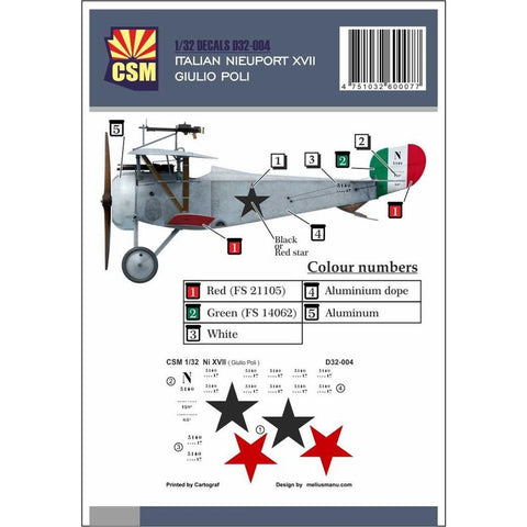COPPER STATE MODELS DECAL Nieuport XVII, Giulio Poli person