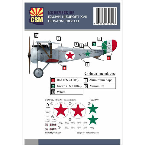 COPPER STATE MODELS DECAL Nieuport XVII, Giovanni Sabelli p