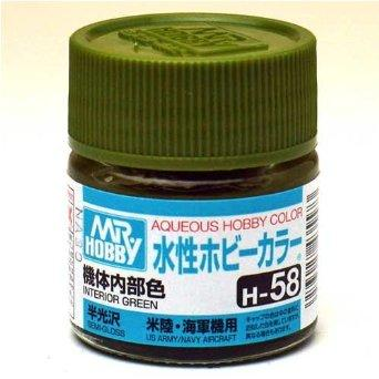 Image of MR HOBBY Aqueous Semi-Gloss Interior Green - H058