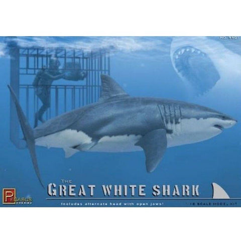 PEGASUS GREAT WHITE SHARK, CAGE & DIVER 1/18 KIT - Hearns Hobbies Melbourne - Pegasus Hobbies - 2