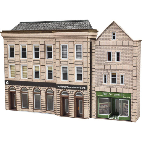Image of METCALFE Low Relief Bank & Shops N Scale