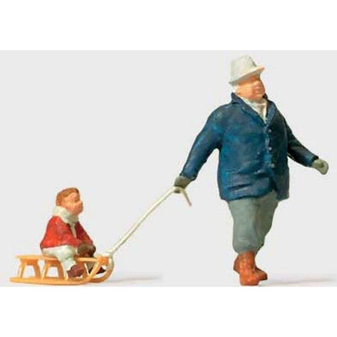 PREISER Man Towing Sled w/Child