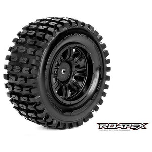 ROAPEX TRACKER 1/10 SC TIRE BLACK WHEEL WITH 12MM HEX MOUNT