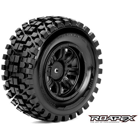 ROAPEX RYTHM 1/10 SC TIRE BLACK WHEEL WITH 12MM HEX MOUNTED (R1003-B)