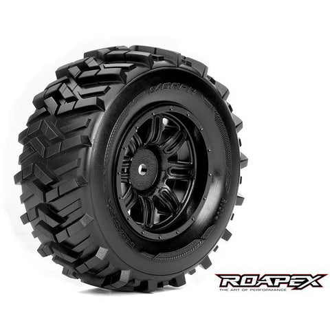 Roapex MORPH 1/10 SC TIRE BLACK WHEEL WITH 12MM HEX