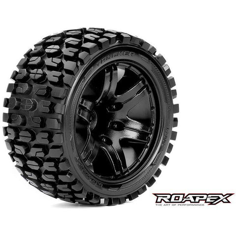 ROAPEX TRACKER 1/10 STADIUM TRUCK TIRE BLACK WHEEL WITH 1/2