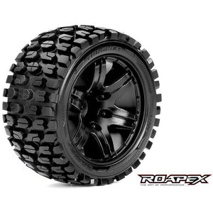 ROAPEX Tracker 1/10 Stadium Truck Tire Black Wheel with 1/2 Offset