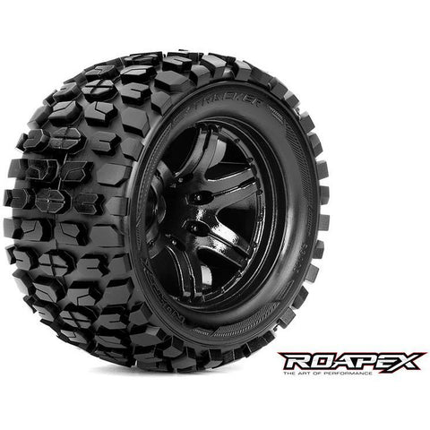 Roapex TRACKER 1/10 MONSTER TRUCK TIRE BLACK WHEEL