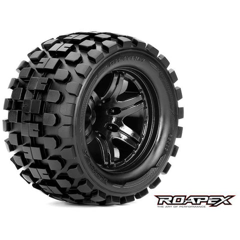 ROAPEX RHYTHM 1/10 MONSTER TRUCK TIRE BLACK WHEEL WITH 1/2 OFFSET 12MM HEX MOUNTED (R3003-B2)