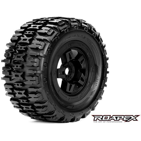 Image of ROAPEX Renegade 1/8 Monster Truck Tyres Black Wheel