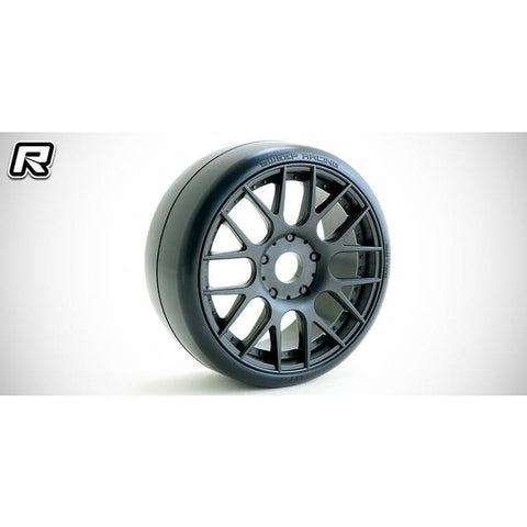 SWEEP 1:8 GT-R2 Pro compound slick pre-glued tires 40deg with EVO16 Black wheels pair (Double stage inserts)(GTR2-40EK16P)