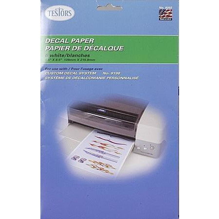TESTORS Decal System Paper White 6 Sheets