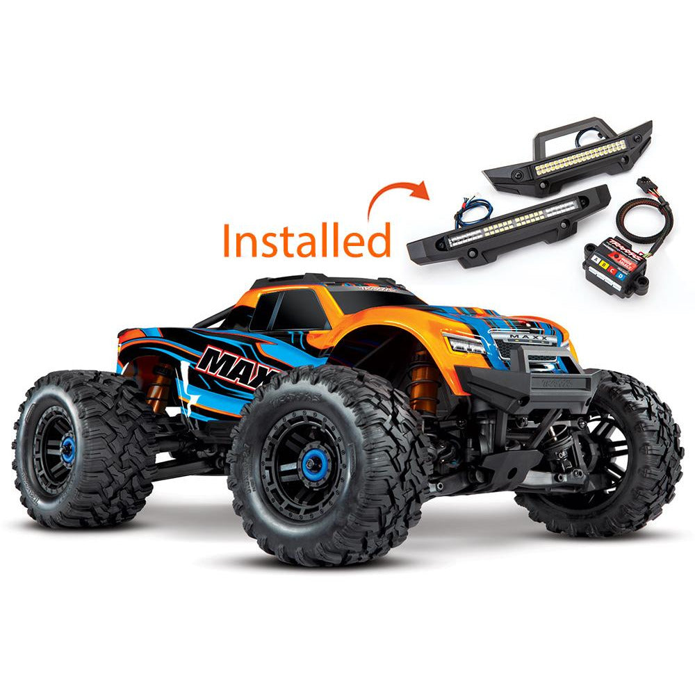 TRAXXAS MAXX 4WD MONSTER TRUCK WITH TQI & LIGHT KIT - ORANG