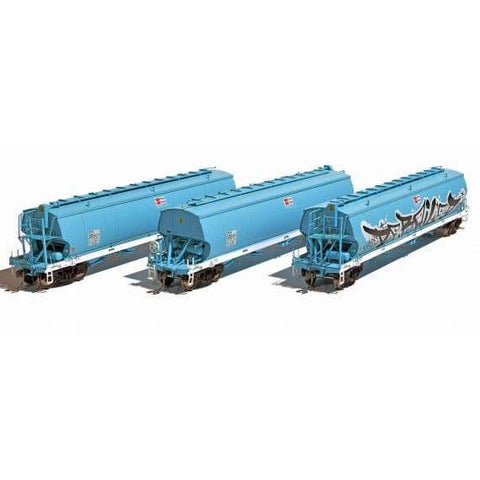 SOUTHERN RAIL HO AWB Grain Hoppers Faded Dark Blue|White Sills 3 Pack