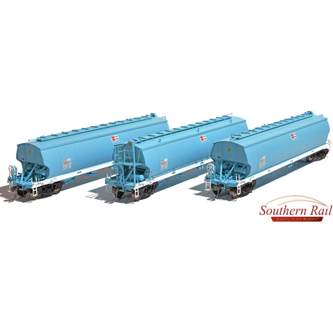 Image of SOUTHERN RAIL AWB WGBY Grain Hoppers 3 Pk DK Blue as Built| 2010 - Current