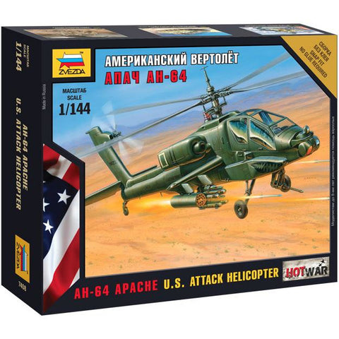ZVEZDA 7408 1/144 Apache Helicopter Plastic Model Kit