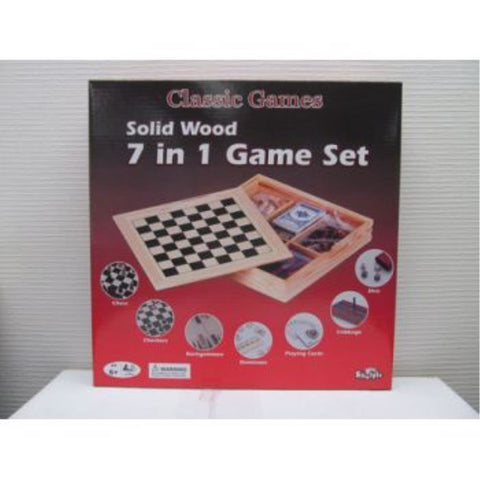 HASBRO SHUFFLE CLASSIC WOODEN 7 IN 1 FAMILY GAMES (AA6674