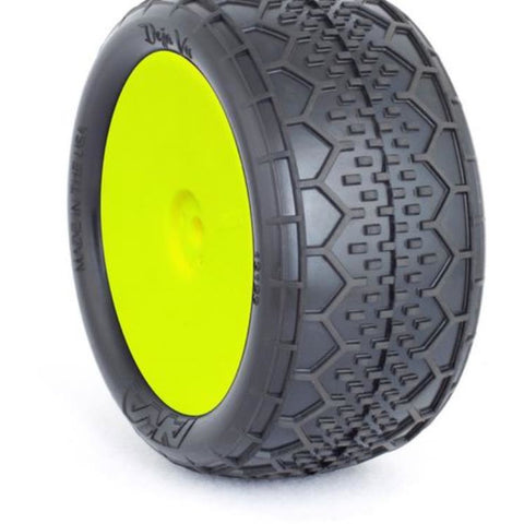 Image of AKA 1:10 BUGGY EVO DEJA VU REAR (SUPER SOFT) EVO WHEEL PRE-MOUNTED YELLOW