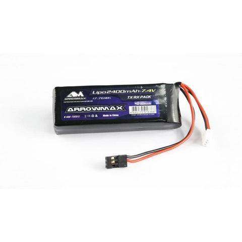 ARROWMAX AM Lipo 2400mAh 2S TX/RX 7.4VFlat Pack (AM-70091