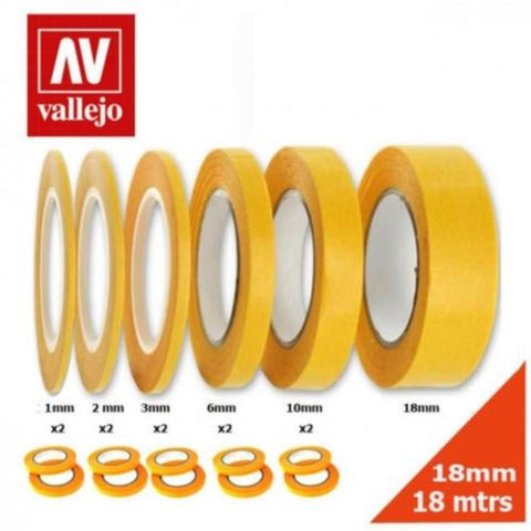 VALLEJO Precision Masking Tape 1mmx18m Twin Pack (AVT07002)