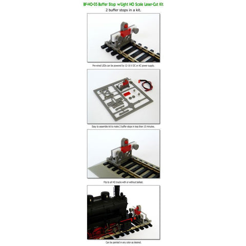 PROSES 2 X HO 1:87 Scale Laser-Cut Buffer Stop Kit w/Light