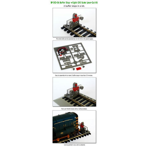 2 X OO 1:76 Scale Laser-Cut Buffer Stop Kit w/Light