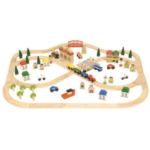 BigjigsTown & Country Train Set - 101pcs