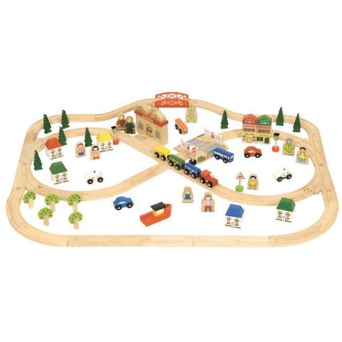 Bigjigs  Town & Country Train Set - 101pcs