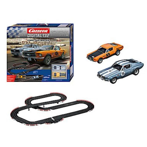CARRERA DIGITAL 132  FAST FASTBACK SET - 2X '67 FORD MUSTANGS W/LIGHTS - Hearns Hobbies Melbourne - CARRERA