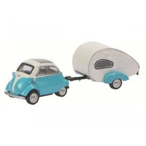 SCHUCO 1:87 BMW Isetta Export w/Home Trailer D452610300