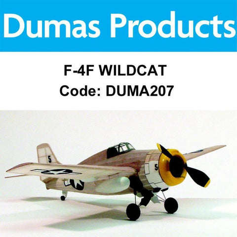 DUMAS 207 F-4F WILDCAT WALNUT SCALE 17.5 INCH WINGSPAN PUBBER POWERED - Hearns Hobbies Melbourne - Dumas