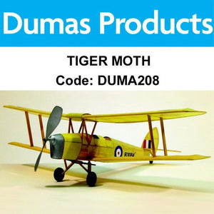 DUMAS 208 TIGER MOTH WALNUT SCALE 17.5 INCH WINGSPAN PUBBER POWERED - Hearns Hobbies Melbourne - Dumas
