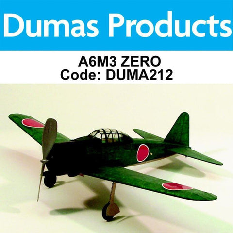 DUMAS 212 A6M3 ZERO WALNUT SCALE 17.5 INCH WINGSPAN PUBBER POWERED - Hearns Hobbies Melbourne - Dumas