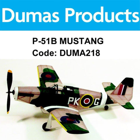 DUMAS 218 P-51B MUSTANG WALNUT SCALE 17.5 INCH WINGSPAN PUBBER POWERED - Hearns Hobbies Melbourne - Dumas
